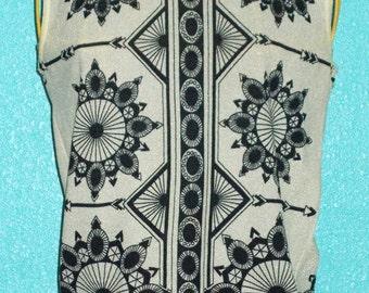 Vintage 1960s 100% Nylon Silkscreened Ladies' Top size Small