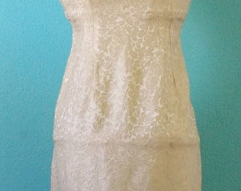 50s60s Vintage Home Sewn Cream Brocade Jacket and Dress Ensemble — Ladies Size Small, 4-6