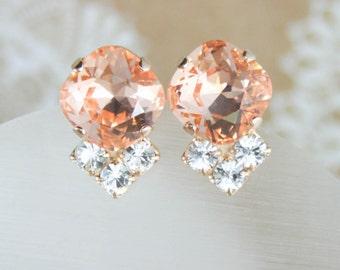 Peach crystal earrings,peach earrings,swarovski peach earrings,swarovski,peach wedding,peach bridesmaid earrings,stud earrings,peach stud