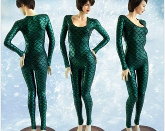 Mera Green Scale Scoop Neck Long Sleeve Catsuit in Emerald Green Dragon Scale Mera Cosplay 153912