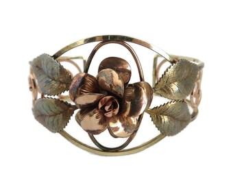 Copper Rose Cuff Bracelet, Vintage Two Tone Flower Bracelet