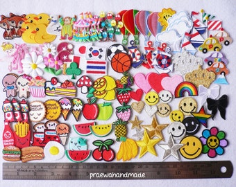 2-4 cm. embroidered Iron on Applique ice-cream,crown,heart,cookie,cupcake,smile face,flower,daisy,diamond,rainbow,mustache,tabletennis.