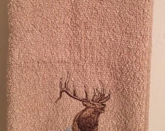 Embroidered ~ BULL ELK~ kitchen bath hand towel