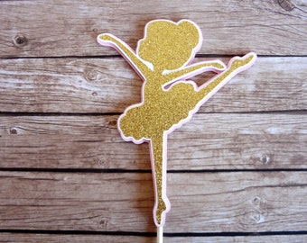 Gold & Pink Ballerina Cake Topper - Birthday Party Decor, Party Favour Favor, Party, Ballet Party