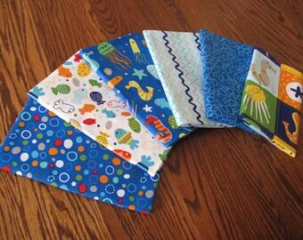 In The Ocean Bundle of 6 fabrics each 1 yard.