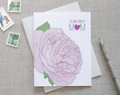 Mother's Day Card // To One Great Mom // Rose Illustration  // Happy Mother's Day