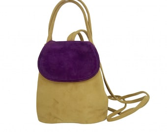 Mini bag backpack COACHELLA purple and camel suede.