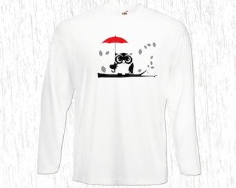 T-shirt Men Long Sleeve An Owl in the Rain