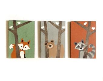 Woodland Creatures - Forest Animals - Woodland Nursery Art - Rustic Nursery Set - Woodland Animals - Fox Nursery Art - Woodland Decor