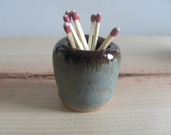 Handmade ceramic match striker - green blue with brown - match holder with strike plate