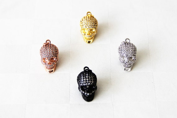 CZ Micro Pave 14x21mm  Solid Skull Pendant