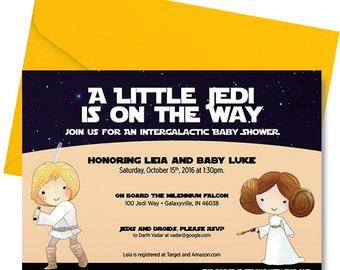 Star Wars Baby Shower Invitation - Star Wars Shower Invitation - Star Wars Baby Shower - Luke and Leia  - Personalized - Digital