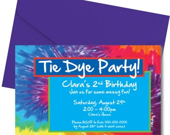 Tie Dye Party Invitation - Tiedye Party Invitation - Printed & Shipped