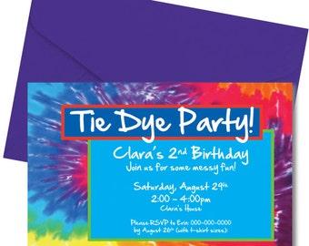 Tie Dye Party Invitation - Tiedye Party Invitation - Digital