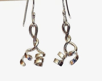 Sterling Silver Earrings, Funky Handcrafted Jewelry, Forged Metalwork Earrings