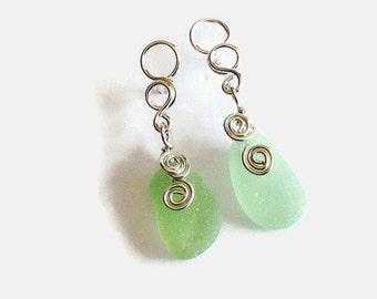 Sterling Silver Sea Glass Earrings, Wire Wrapped English Beach Glass Jewelry, Sterling Silver Metalwork Earrings