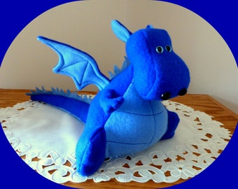 Flying Dragon Stuffed Animal/Blue Dragon Toy/Yoki the Fat Dragon Ready Made/DIY Fluffies/Fleece Dragon With Wings/made in USA/Dinosaur Plush