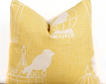 SALE ENDS SOON Bird Cage Pillow case, Yellow Cotton Pillow Cover, Modern Decorating Ideas, 20 x 20