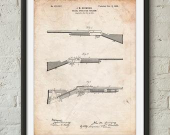 Browning Auto 5 Shotgun 1900 Patent  Poster, Gun Enthusiast, Firearm, Hunter Gift, Duck Hunting, Cabin Art, PP0754