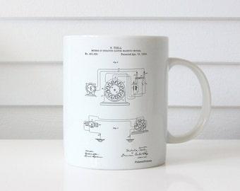 Tesla Operating Electric Motors Map Mug, Science Mug, Engineer Gift, Physics Mug, Tesla Patent, PP0264