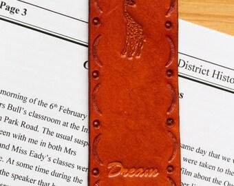 Giraffe Bookmark, Dream Bookmark, Giraffe Hand Tooled Leather Bookmark, Dream Leather Marker, Giraffe Book Marker, Either Brown or Pink