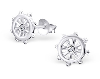 925 Sterling Silver Crystal Ship Wheel Helm Nautical Stud Earrings - ES6160