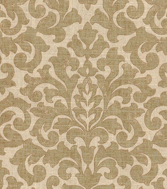 SALE Gold Damask Fabric Upholstery Fabric Metallic Drapery
