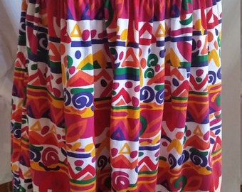 Vintage eighties colourful abstract design cotton skirt by Maglia size 10 made in Australia
