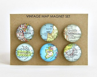Custom Map Magnets / Anniversary Gift for Parents / thank you gifts for coworkers / Gift for Boss / Moving Away Gift / Going Away Gift