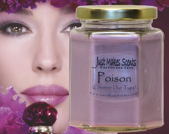 Poison (Christian Dior Perfume Type) Blended Soy Candle - Free Shipping on Orders of 6 or More - Christian Dior Poison Candles