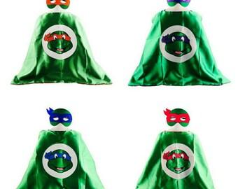 Ninja Turtle and mask set/ childrens cape/ costume/party favor/kids/ stocking stuffer/ Christmas