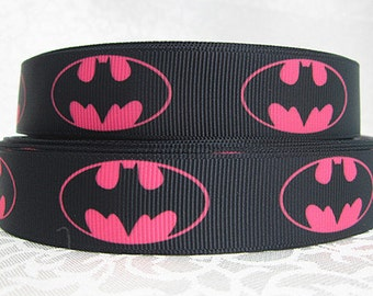 "7/8"" wide 3 yards Batgirl ribbon/ Party favor/ decoration/ batman/pink bubbles/ dots"