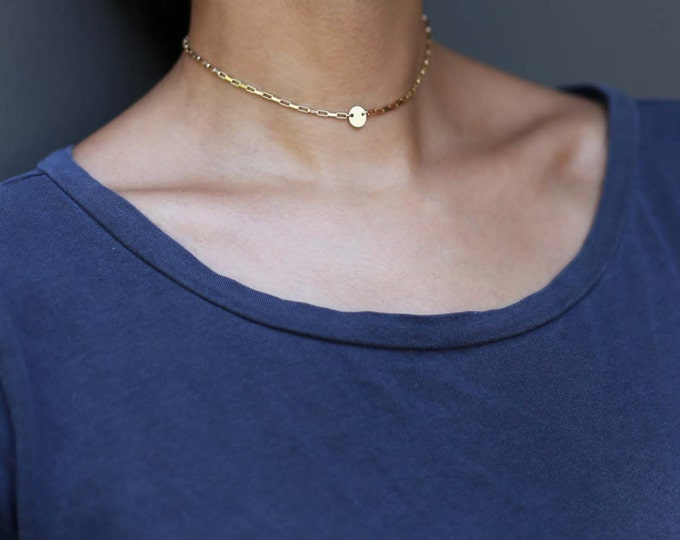 Ultimate Initial choker necklace - Personalized coin disc necklace in Gold filled or Sterling silver //EC12