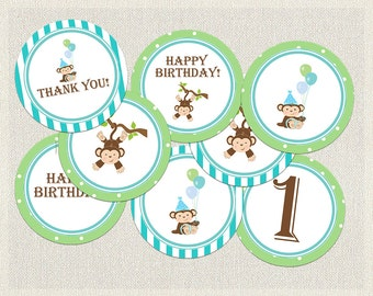Monkey Cupcake Toppers Birthday Green Blue Brown 1st 2nd 3rd Printable Boys IV-3