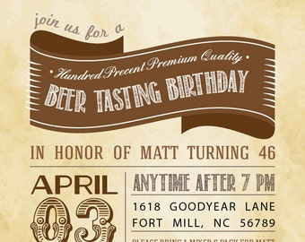 Beer Tasting Party Birthday Barbeque Cookout Vintage - Printable Customized Invitation