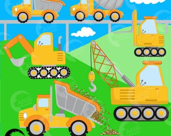 Construction Clipart, Dump Truck Clipart, Construction Boy, Construction Background, Truck clipart, Commercial Use, AMB-1414
