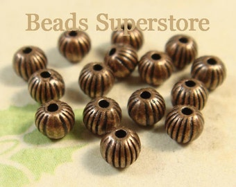 SALE 4 mm Antique Copper Corrugated Round Spacer Bead - Nickel Free, Lead Free and Cadmium Free - 100 pcs