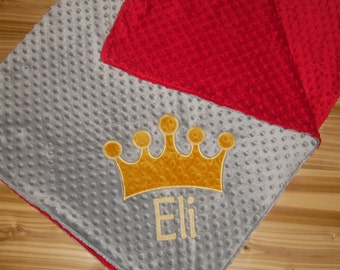 Crown Minky Baby Blanket - Grey Minky/ Red Minky - Embroidered Crown