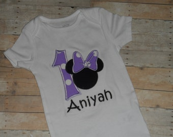 Minnie Mouse shirt Baby Toddler Girls custom applique birthday 12 18 24 months 2t 3t 4t 5t