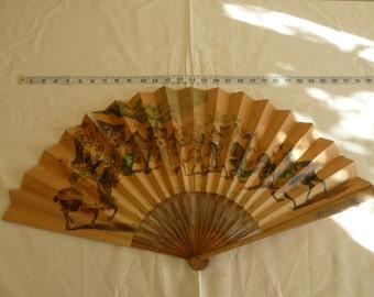 Vintage wooden and paper spanish ladies handheld fan. Spanish picture fan. Ladies hand held fan.