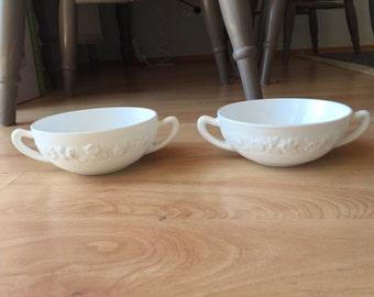 Set of Two Vintage Milk Glass Bowls