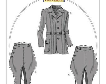 B6340 Butterick, Making History, Banded Jacket, Breeches and Jodhpurs, victorian, edwardian, Reenactment Clothes Historical costumes