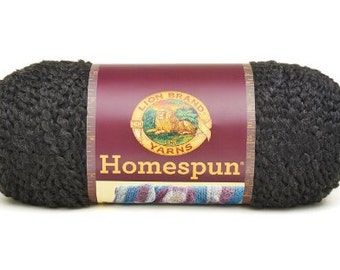 Lion Brand Home Spun Yarn Black, Chunky Yarn, Soft homespun Yarn, Yarn made in the USA, Ultra soft yarn, Bulky Yarn