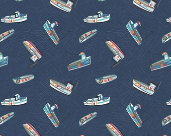 Lewis & Irene Harbour Side Patchwork Quilting Fabric A178.3 - Fishing boats on navy blue