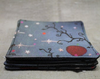 Fabric coaster set 'night sky' digital print cotton with upcycled denim