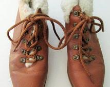 Wms Vintage Leather Fur Booties Sz 7.5