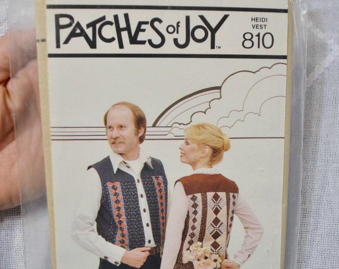Patches of Joy Heidi Vest 810 Ladies Mens Multi Size Patchwork Vintage Pattern PanchosPorch