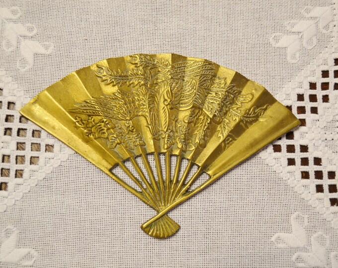 Vintage Brass Fan Wall Decor Embossed Design Wall Art Phoenix Bird Asian Oriental PanchosPorch