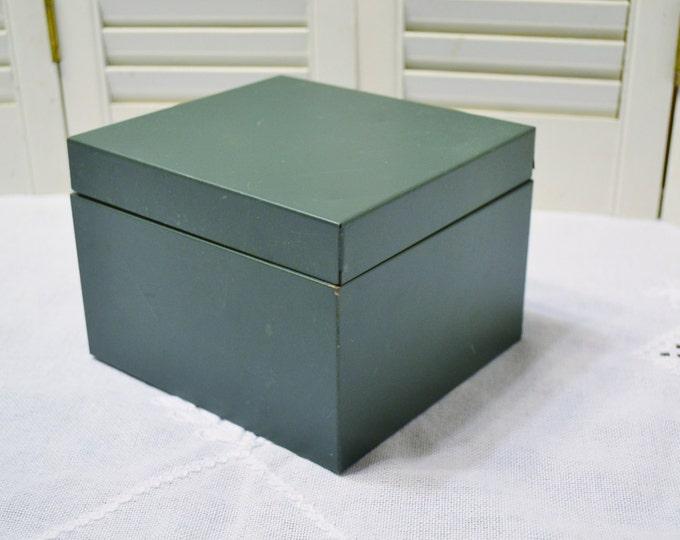 Vintage Metal File Box Recipe Storage Green Square Index Card File Panchosporch