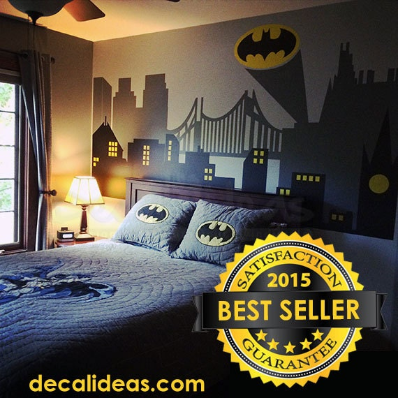 Superhero wall decal gotham city wall decal batman sticker for Cityscape bedroom ideas